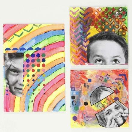 Bilde med fastlimt print og mønstre laget med stensiler