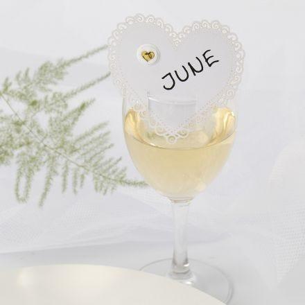 Bordkort til bryllup av kartong hjerte med puffy sticker