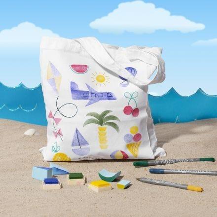 Mulepose med sommerlige stempeltrykk