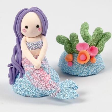 Havfrue og skjær av Foam Clay og Silk Clay