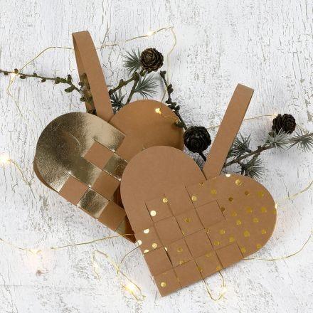 Flettet julehjerte i lærpapir