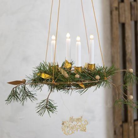 Hengende adventskrans med lysholdere av bonzaitråd og lærpapir pynt