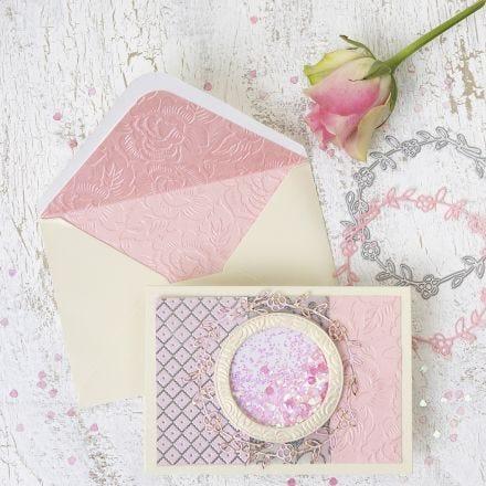 Shaker kort og konvolutt med sirkel motiv og håndlaget papir