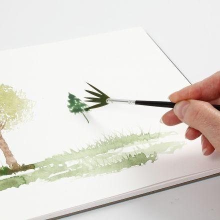 Slik lager man akvarellteknikker med en viftepensel