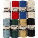 Bambussnor, tykkelse 1 mm, ass. farger, 8x65 m/ 1 sett