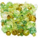 Harmoni facettperlemix, str. 4-12 mm, hullstr. 1-2,5 mm, grønn glitter, 250 g/ 1 pk.