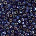Rocaiperler, dia. 4 mm, str. 6/0 , hullstr. 0,9-1,2 mm, blå olje, 25 g/ 1 pk.