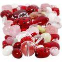 Glassperler, marihøner, blad, hjerter, str. 5-22 mm, hullstr. 0,5-1,5 mm, ass. farger, 60 g/ 1 pk.
