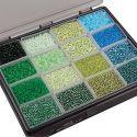 Rocaiperler, dia. 3+4 mm, str. 6/0+8/0 , hullstr. 0,6-1,0+0,9-1,2 mm, ass. farger, 16x100 g/ 1 pk.