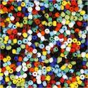 Rocaiperler, dia. 4 mm, str. 6/0 , hullstr. 0,9-1,2 mm, ass. farger, 500 g/ 1 pk.