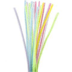 Piperensere, L: 30 cm, tykkelse 6 mm, glitter, pastellfarger, 24 stk./ 1 pk.