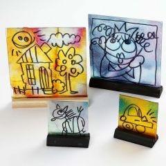Glassbilder med akvarell