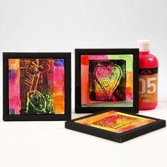Neonmalt maleplate med svart trykk