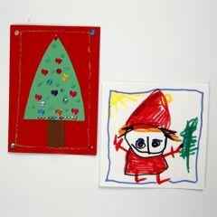 Dekorert julekort av kartong i A5