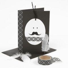 Påskekort i svart og hvitt - med 'eggehode' og mønstertape