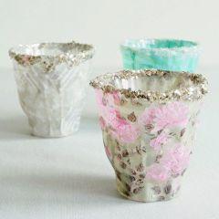 Lysglass med Skagen decoupagepapir og glitter på kanten