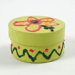 Malt rund eske med lokk, dekorert med glitter