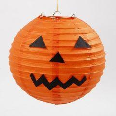 Rispapirlampe som gresskar til Halloween