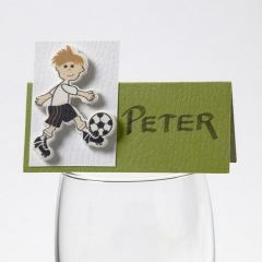 Tresticker med fotballspiller på bordkort fra Happy Moments
