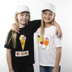 T-shirt med is-motiv laget med tekstilmaling