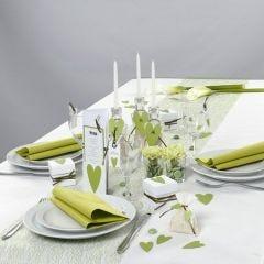 Borddekking og bordpynt i hvitt og grønt fra Happy Moments