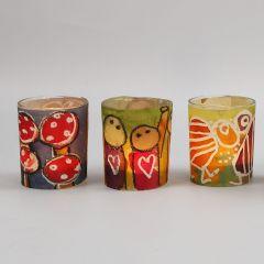 Lysglass med belte av dekorert akvarellpapir