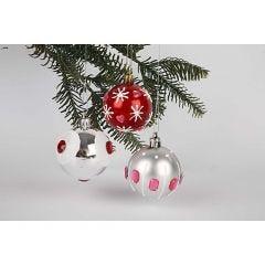 Festlige julekuler i rødt og sølv