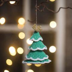 Heklet juletre av bomullsgarn og gullgarn