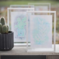 Bilde  med opptegning av tegnegummi-penn og Aqua Paint i dobbeltramme