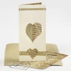 3 sidet kort med hjerte skåret i skjæremaskin
