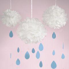 Papirpompon sky med dråper av kartong