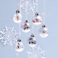 Julekule med innvendig motiv av polardyr til fargelegging