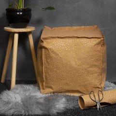 Puff sydd av lærpapir med krøyerkule-fyll