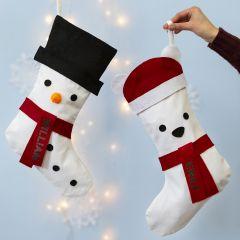 Julestrømpe dekorert som en snømann og isbjørn