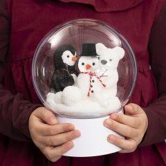 Deko-kule på fot med snømann, pingvin og isbjørn inni