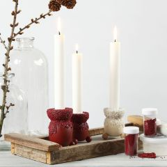 Lysestake dekorert med hobbymaling og mini glasskuler