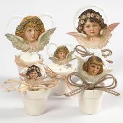 Engel av glansbilder i små potter