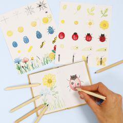 Lær å tegne insekter og blomster i en naturbok