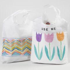 Handlenett dekorert med tekstiltusj og rub-on stickers