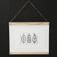 Hjemmelaget stempeltrykk av blad på papir
