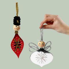 Engel og nøtteknekker laget av sykartong og piperenser