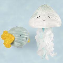 Vannmann og fisk av rispapirlamper dekorert med hobbymaling og silkepapir