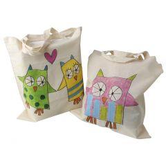 Handlepose dekorert med stoffkritt