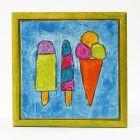 Tusjtegnet motiv med glittermaling på maleplate i ramme