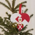Flettet julehjerte med nøtteknekker som motiv