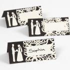 Bordkort med utstanset bryllup motiv og blondekartong