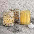 Lysglass dekorert innvendig med stoff