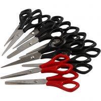 Skolesaks, L: 14 cm, høyre & venstre, svart, rød, 12 stk./ 1 pk.