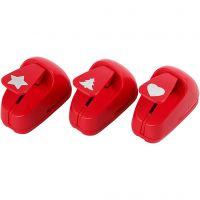 Stansejern, stjerne, hjerte, juletre, str. 16 mm, rød, 1 sett