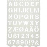 Sjablong, bokstaver og tall, H: 25 mm, 21x29 cm, 1 stk.